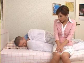 Horny Stepmom Rimu Himeno Awakes and Fucks Her Sleeping Teenage Stepson