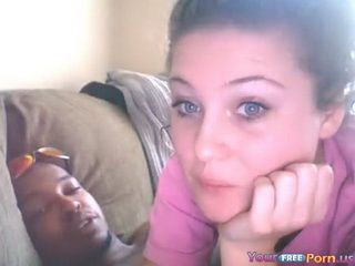 White Teen Rides Her Black BF On The Sofa