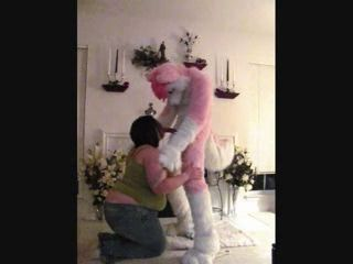 Guy In Pink Wolf Costume Gets Blowjob From BBW