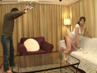Fishing for Skirt of Stepmom Aya Takekawa and Abusing Her Pussy