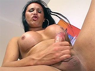 Pretty shemale fucking her man