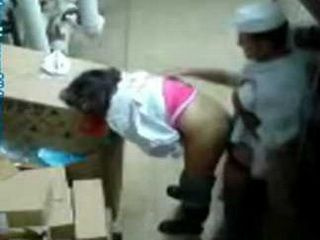 Hidden Cam Taped A Chef Cook Fucking Arab Waitress In a Restaurant Storage