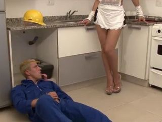 Hot Shemale Maid Seduce and Fuck Young Repairman