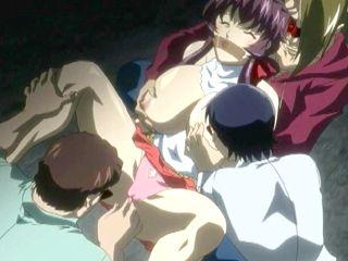 Bondage hentai schoolgirl with a muzzle groupfucking by bandits