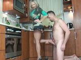 Nylon Footjob Fetish With Hot Milf In Kitchen and Cum In Heels