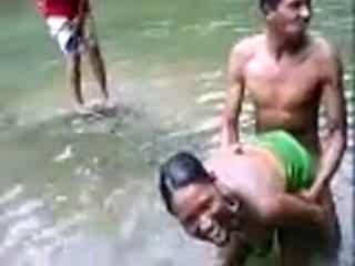 African Native Woman Fucks A Boy In A River In Front Of Crowd - Amateur Mobile Phone Video