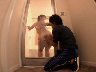 Big Ass Fitness Instructor Ryoko Murakami In Shower Cabin Seduces and Fucks Spying Gym Boy