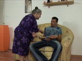 Greyhaired Granny Corners And Fucks Young Guy