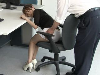 Secretary Miku Ohashi In Nylons Gets Proper Punishment For Sleeping at Work