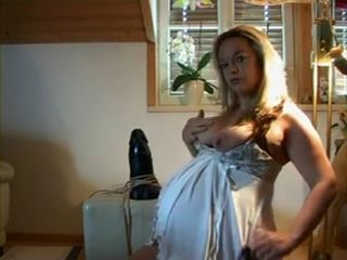 Pregnant Blonde Milf With Big Belly Rides Monster Dildo