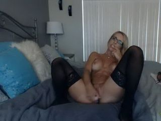 Hot Blonde MILF in Stockings Ride