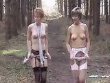 Sara and Jade Strip in the Woods xLx