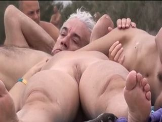 Lesbians Old & Young Finger Pussy on the Beach xLx