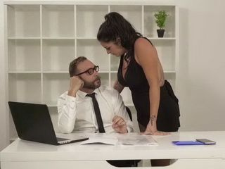 Horny Boss Is Sure That His Busty Latina Secretary Is Eager For Something From His Pants