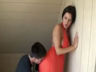 Horny Son Pleases His Busty Stepmother On The Stairs