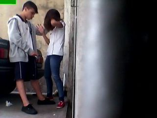 Voyeur Secretly Taped Young Girl Being Forced To Suck Off Bfs Cock In The Alley