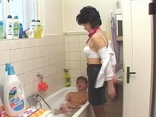 Twisted Stepmother Offeres More Than Just A Help To Her Stepson While Taking Bath