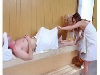 Three Teen Hotties Share A Hard Monster Cock In A Sauna