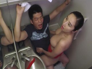 Air Hostess Having A Quickie Fuck With A Passenger In A Flight Toilet