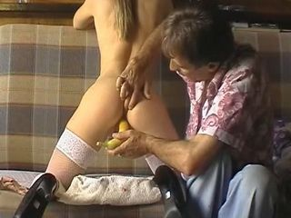 Impotent Sugardaddy Drilling Young Chick Pussy In Period With A Banana
