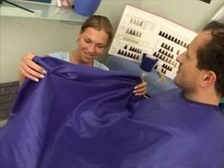 Costumers Get Extra Sucking For Haircut