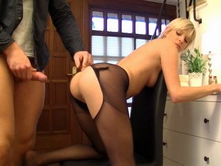 Gorgeous Blonde Gets Fucked In Every Hole Through Ripped Off Pantyhose