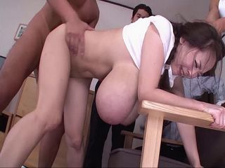 Japanese Beauty With Giant Natural Tits Gangbanged By Bunch Of Horny Guys
