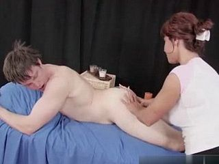 Expirienced Readhead Masseuse Wont Resist Young Cock