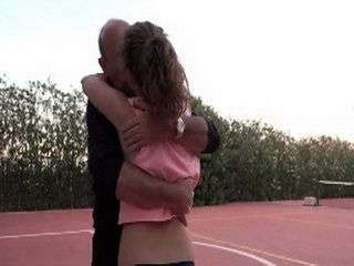 Cute Teen Seduces And Fucked By Old Guy At Tennis Court