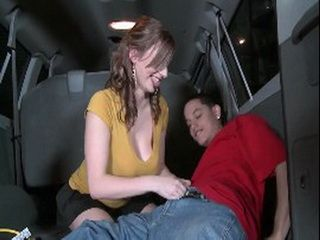 Milf With Enormously Huge Tits Hard Banging By Her Younger Lover In The Car