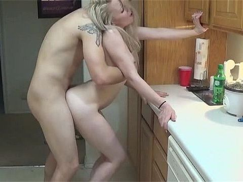 Blonde Babe Gets A Good Fuck In The Kitchen And Cum In Her Mouth