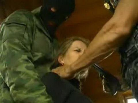 Russian Soldiers Make A Poor Blonde Girl Hostage