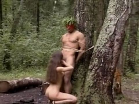 Russian Girl Giving An Oral Pleasure And Hard Fucking With Black Guy In The Woods