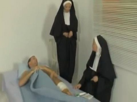 Nuns Taking Care Of Injured Man But Hard Boner Distracted Them