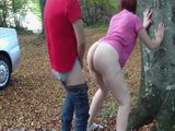 Chubby Redhead Whore Gets Outdoor Fucked