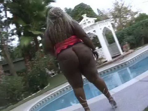 Huge Ass Ebony BBW Pounded By The Pool