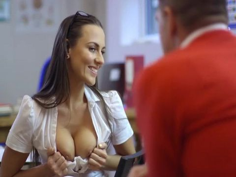 Naughty Student Girl Teasing Handsome Assistant In A College Library