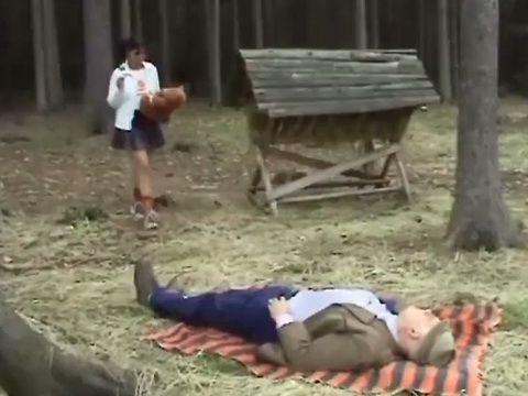 Sly Teen Meet Old Grandpa Outdoor