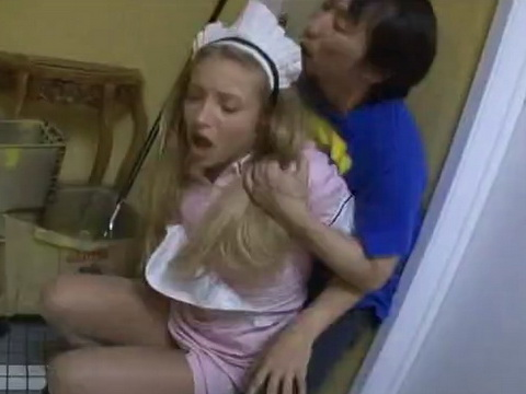 Blonde Waitress Molested by a Japanese Guy in a Restaurant