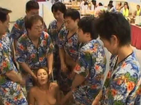 Japanese Woman Groped And Facialized in the Public Spa