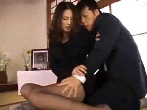 Japanese Widow In Pantyhose Badly Assaulted After Husbands Funeral