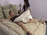 Kinky Brunette Tied Up Sleeping Guy To A Bed And Fulfill Her Sexual Needs