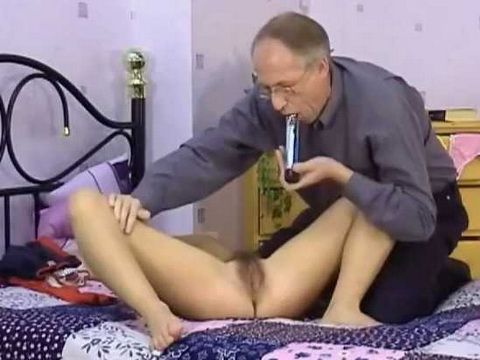 Young Girl Christine Masturbated by Old Man