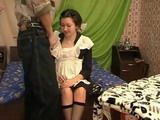 Russian Maid Fingered And Fucked by House Owner