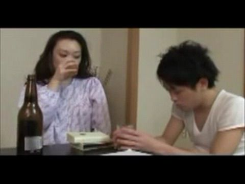 Drunk Japanese Step Mommy Train Son for Sex
