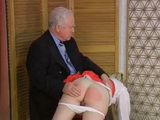 Schoolgirl Spanked and Caned by Old Teacher