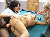 Lesbians Threesome Pool Table Strapon Fuck