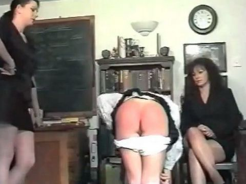 Punishment Spanking From Mom and Daughter by Teacher