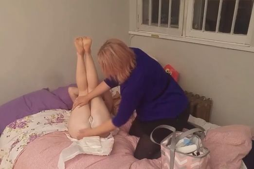 The Aunt Spanks and Put Diaper On the Niece as Punishment