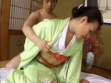 Woman In Kimono Masturbates on the Floor and Fucked by Young Guy